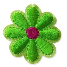 SPRING GREEN DAISY MOTIF IRON ON EMBROIDERED PATCH APPLIQUE